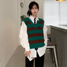 Women Knitted Vest Preppy Style Simple Wild Korean V-Neck Sleeveless Sweater Vest Fall Sweet Loose Leisure Vintage Stripe Vest(China)