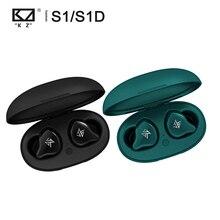 KZ S1 S1D TWS Ture سماعة لاسلكية تعمل بالبلوتوث 5.0 الرياضة في الأذن سماعة ديناميكية/الهجين سائق ياربود