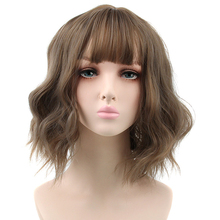 Pageup Short Wave Synthetic Wig For Black/White Women Wigs with Bangs High Temperature Hair Wigs
