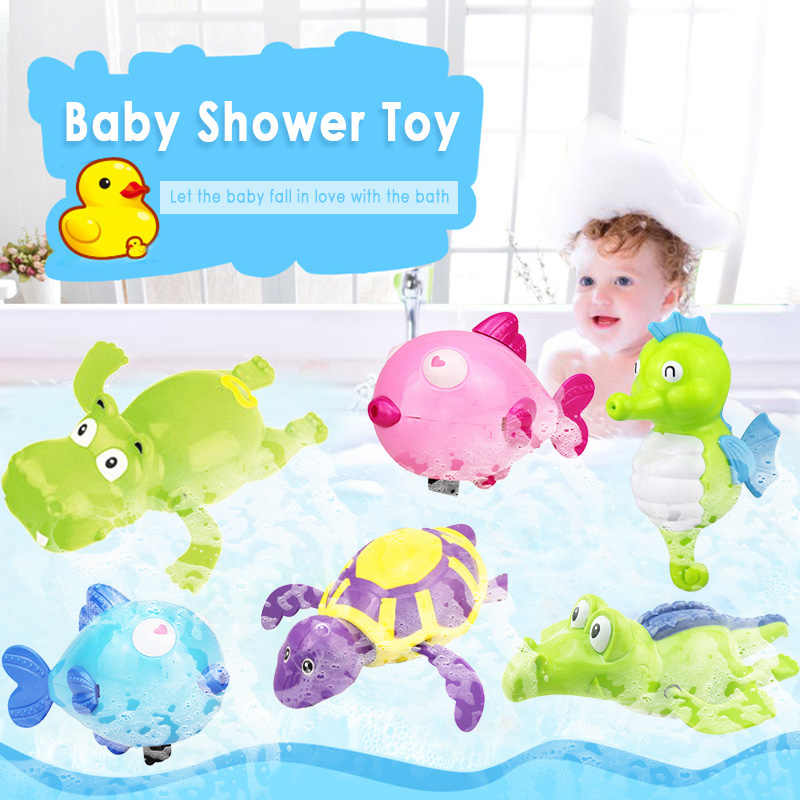 Brinquedo aleatório para banho, tartaruga, hippodolphin, água, crianças, banho, banheira, animais, brinquedos de som, relógio para natação, 1 peça crianças
