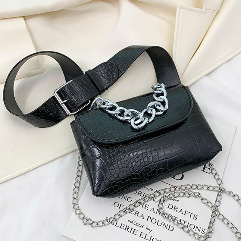 Crocodile Pattern Women Waist Bag Luxury Designer Female Belt Bag High Quality Leather Fanny Pack Shoulder Messenger Chest Bags
