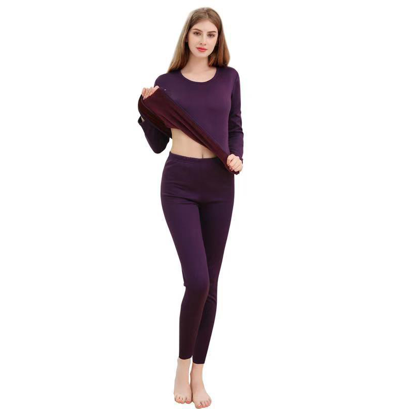 Purple Lady Thermal Underwear Suit Thicken Autumn Winter New Thermo Lingerie Lovers Oversized Long Johns Warm Intimate Lingerie