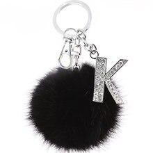 Пушистый черный помпон Искусственный Кролик искусственный кристалл