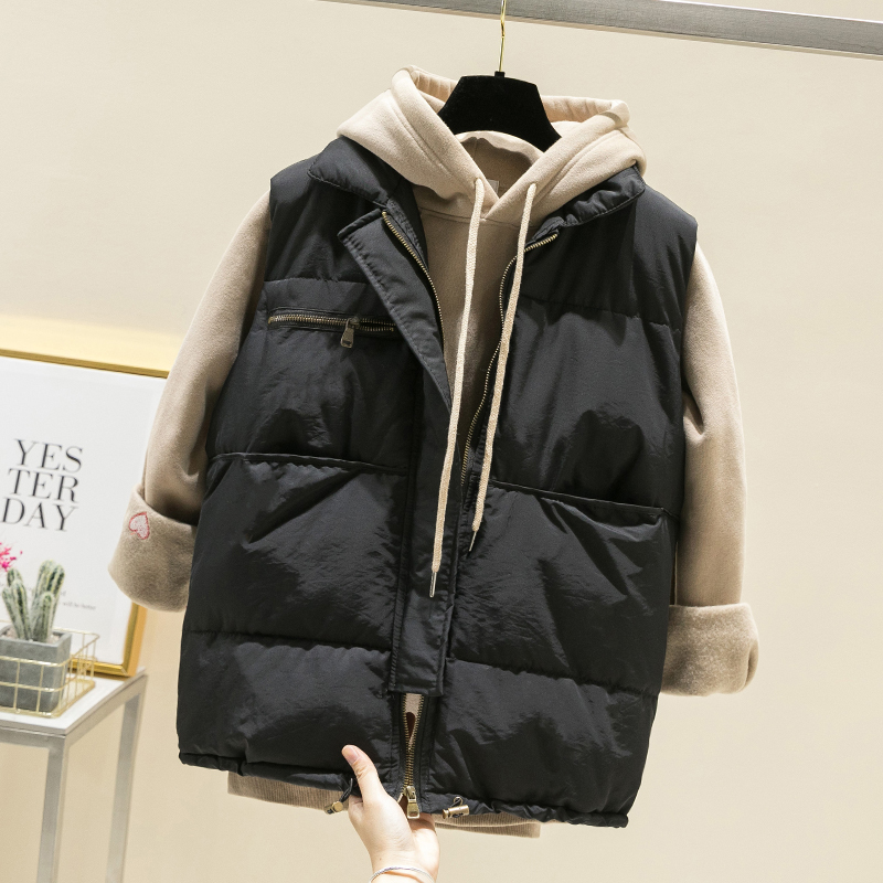 Fashion Casual Winter Vest Coat Women Solid White Black Sleeveless Zipper Fly Vintage Jacket Female Korean Slim Tops