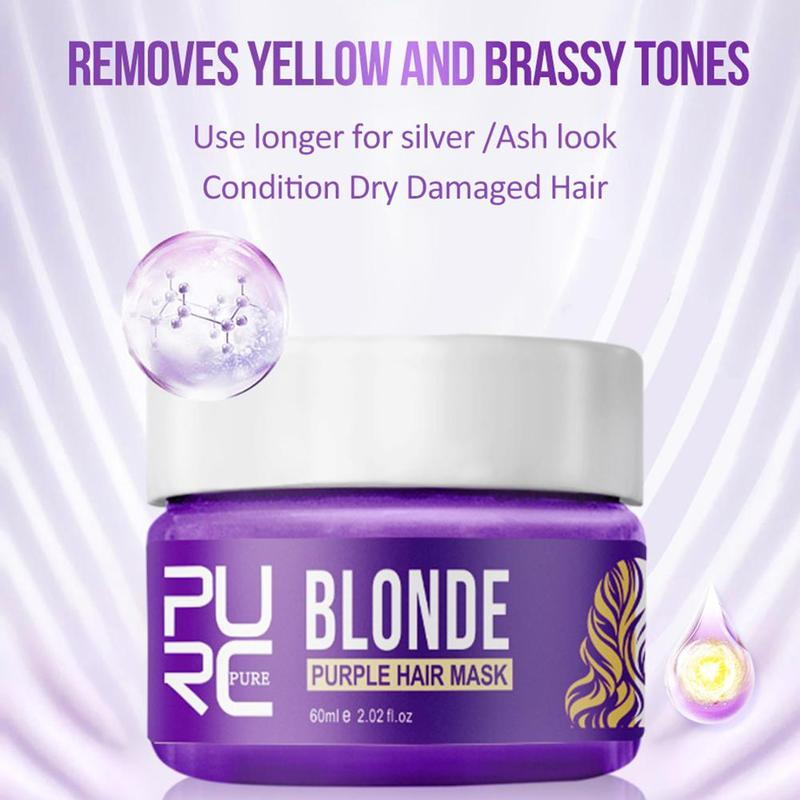 Purc Purple Hair Mask Repairs Frizzy Make Hair Soft Smooth Removes Yellow And Brassy Tones 60ml Magical Treatment Hair Mask 6