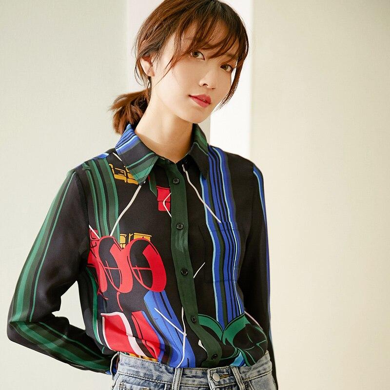 Новый Печатный Шелковый Топ вертикальная полоса шелковая рубашка женская s Весенняя рубашка