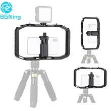Handheld gaiola câmera para gopro 7 6 para dji osmo ação/yi/eken smartphone suporte de vídeo vlog grip estabilizador rig suporte