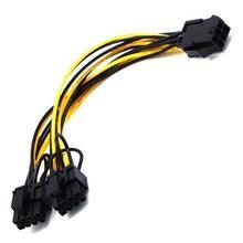 5Pcs PCI E da 6pin a doppio 6 + 2 pin (6pin/8pin) cavo Splitter di alimentazione scheda grafica PCIE PCI Express da 6Pin a doppio cavo di alimentazione a 8Pin