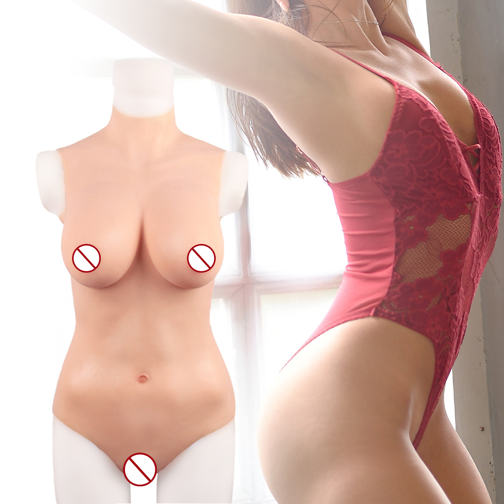 KUMIHO Size L Sexy Triangle Bodysuit Silicone Breasts Forms Fake Boobs Fake Vagina For Transgender Sissy Crossdresser Drag Queen