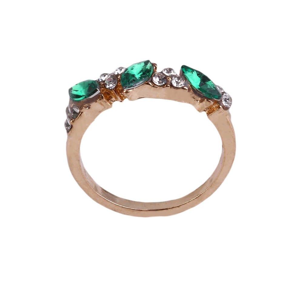 1 Uds. Vintage deslumbrante cristal azul imitación Esmeralda Diamante de imitación elegante anillo de dedo