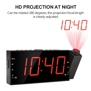 Alarm z projekcją zegar cyfrowy wyświetlacz sufitowy projektor ściemniacz radiowy do sypialni w domu