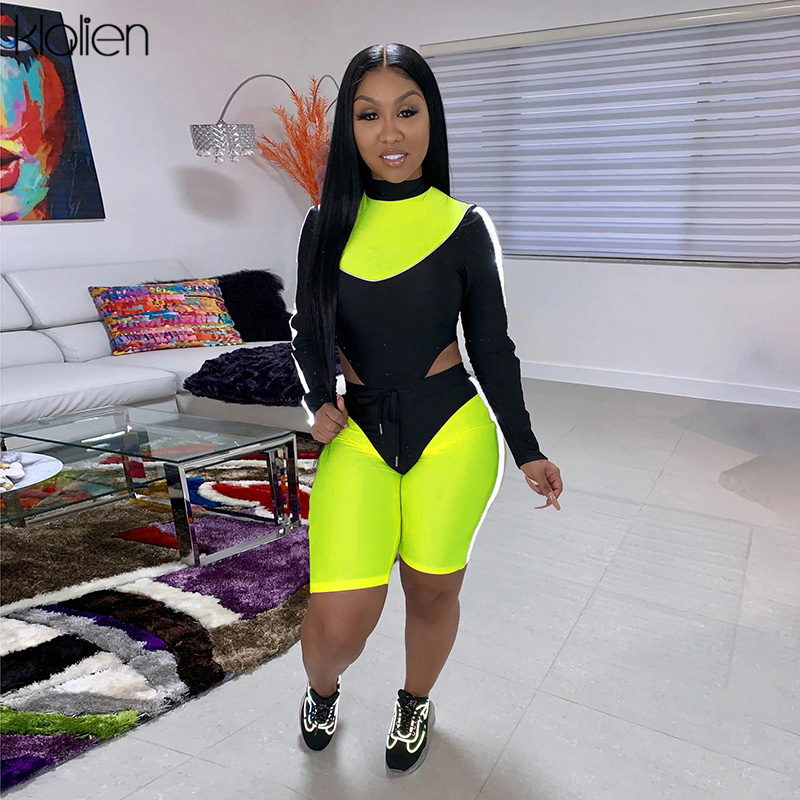 KLALIEN 2020 New Women Backless Fitness Two Pieces Sets Full Sleeve Outfit Turtleneck Tops And High Waist Drawstring Shorts Suit