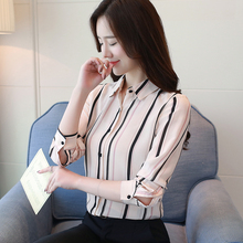 Women Shirts Korean Fashion Stripe Blouses Shirt Women Print Shirt Plus Size Womens Tops and Blouses Blusas Mujer De Moda 2019 цена