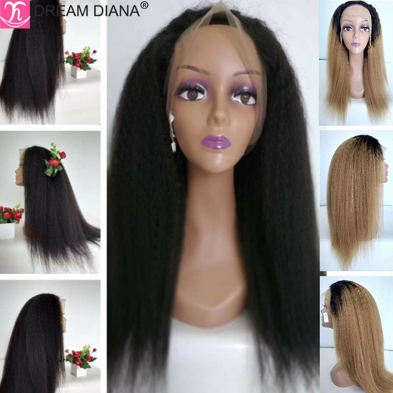 DreamDiana Remy Ombre Front Lace Wig Kinky Straight Pre Plucked 150 Density Brazilian Frontal Wig 13x4 Lace Front Wig Human Hair