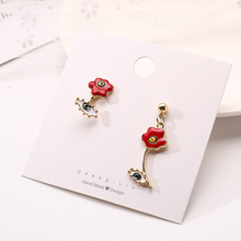 New Zinc Alloy Drop Oil Flower Pendant Earrings Female Girls Fashion Jewelry Gifts Dinner Costume Glamour Accessories