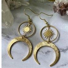 Pendientes celestales de sol y luna para mujer, aretes bohemios de latón Witchy o Color plata antigua, joyería 2020