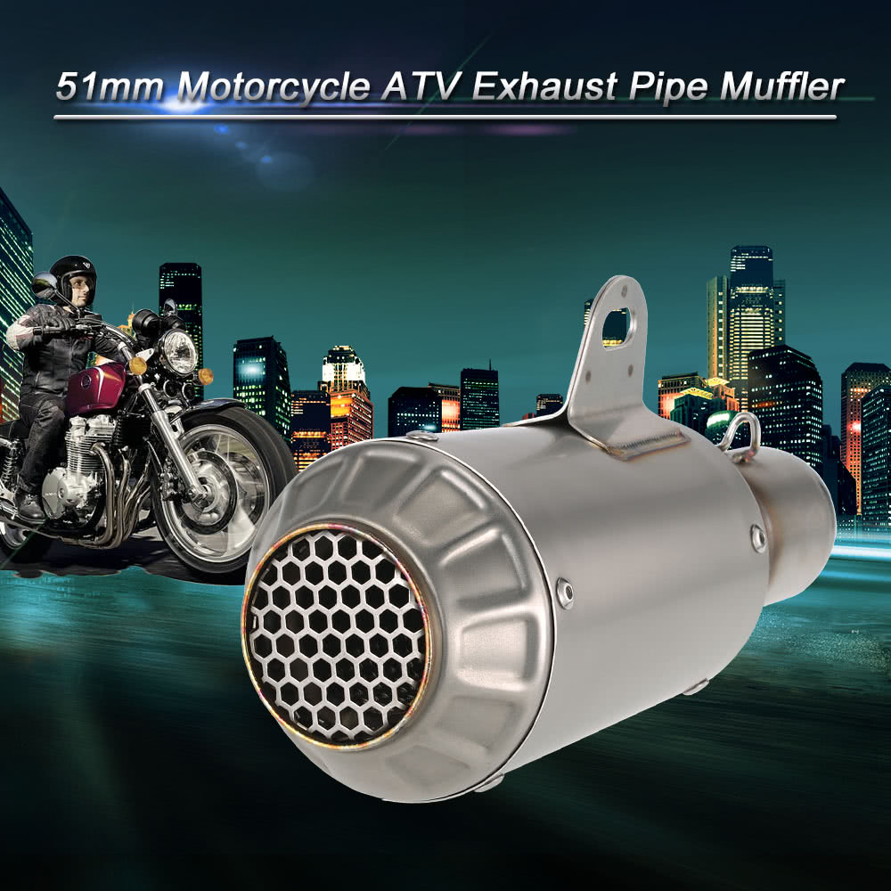 Motorcycle Exhaust Muffler Burnt Blue Car Muffler Tip Exhaust Pipe Tail Universal For Motorcycle ATV image