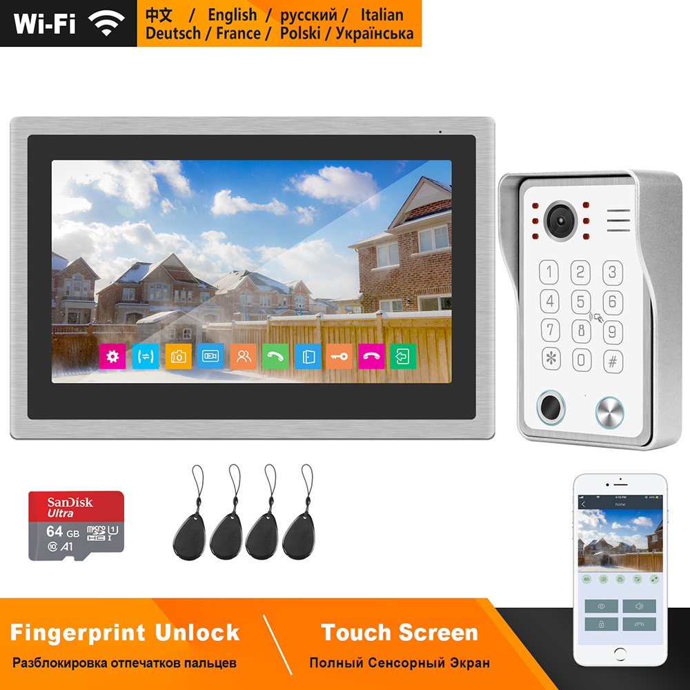 HomeFong Wireless Video Intercom For Home IP Video Doorbell Fingerprint Unlock  HD 10 Inch Touch Screen Wifi Intercom System Kit