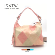 цены ISXTW 2019 New Women's Bag Stitching Fashion Big Bag Fashion Bag Hit Color Bag Tassel Bag Shoulder Bag Handbag Diagonal Bag Lady