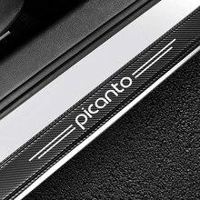Adesivos de carro para kia picanto peitoril da porta do carro decorativo placa scuff guardas fibra carbono vinil limiar da porta etiqueta acessórios