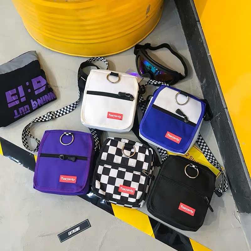 Frauen Leinwand Tasche Hong Kong Stil Harajuku Stil Kontrast Farbe Kleine Tasche Koreanische Stil Modische Casual Messenger Schulter Taschen