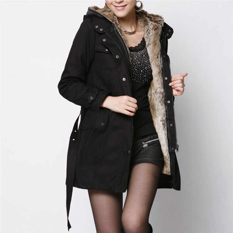 Women's Sweater Ladies Fur Lining Coat Womens Winter Warm Thick Long Jacket Hooded Parka  Jacket Coat Women's Jacket Coat Female