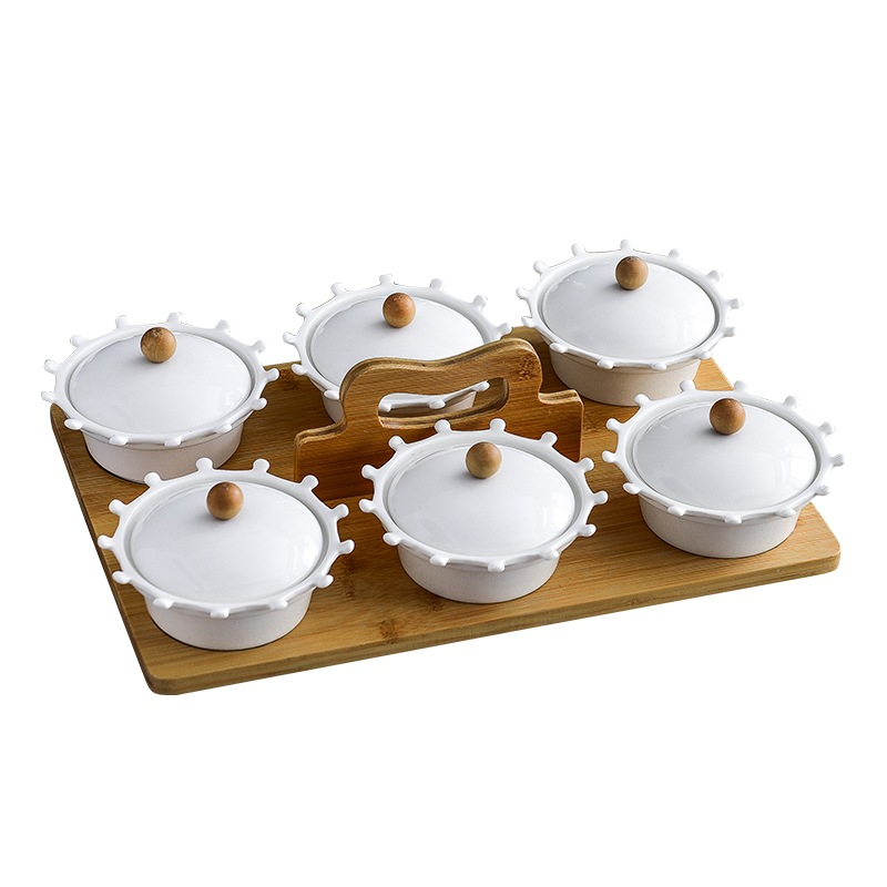 Plateau rond fruits secs en céramique | Avec couvercle, plateau de service, plateau de Snacks à bonbons japonais assiette en bois, plats blancs, assiettes de luxe