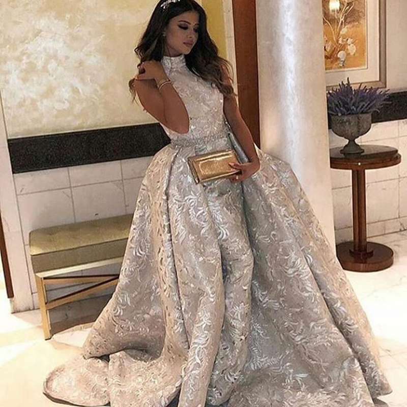 Prom     Dresses   Long Mermaid High Neck Appliqued Lace Sequins Floor Length For Women Special Occasion Formal Evening Gowns