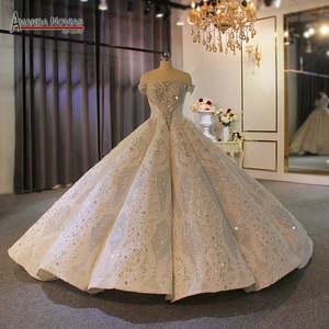 Ball-Gown Wedding-Dress Brides The-Shoulder Full-Beading Africa Off for Black Girls