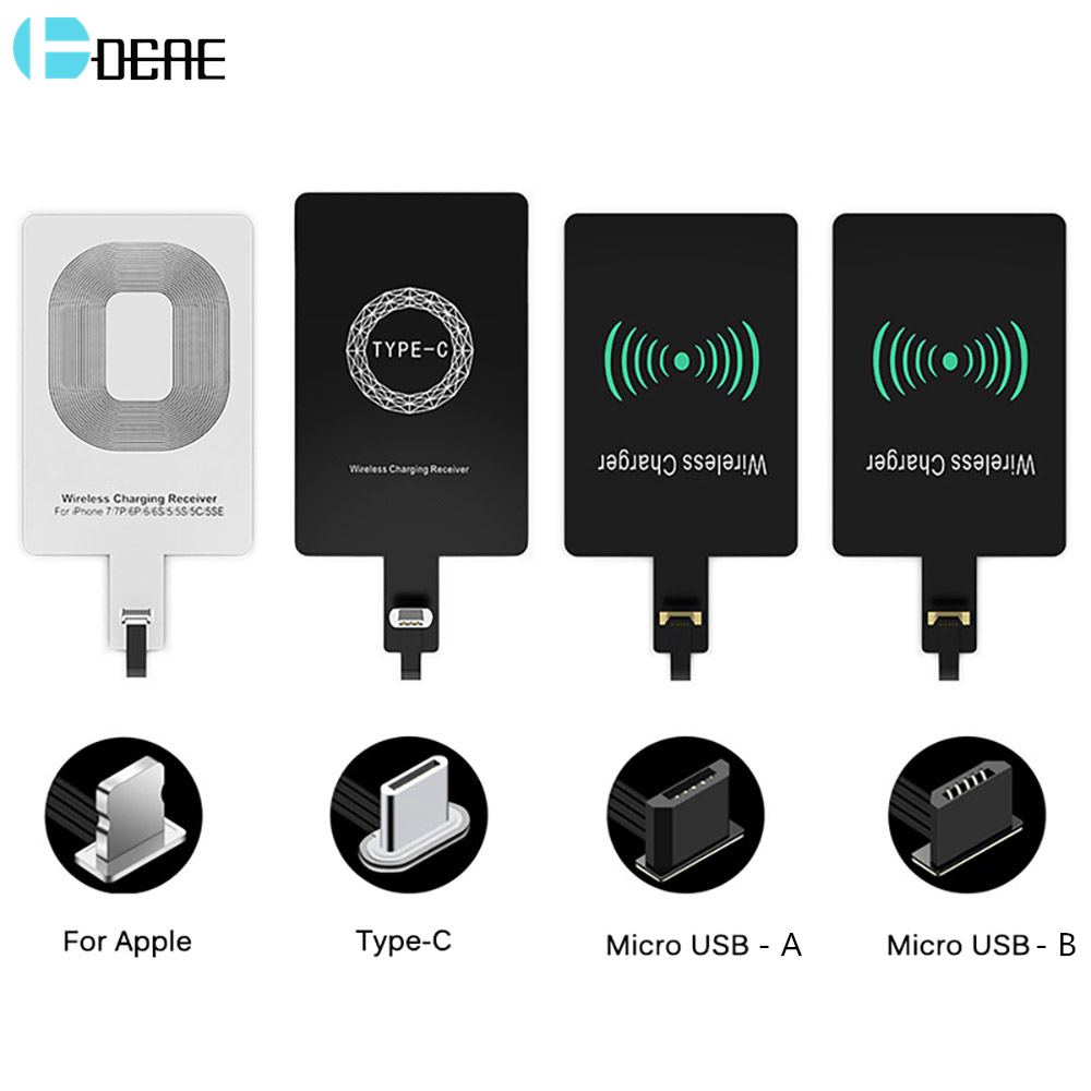 Wireless Charger Receiver For iPhone 7 6 6s Plus 5s 5 SE Qi Charging Adapter USB Micro Type C for Samsung Galaxy J7 J3 J6 S5 A50