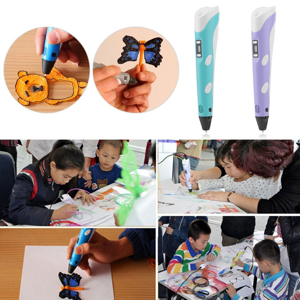 lowest price Children S Drawing Magic 3D Printer Pen Set LCD Display 3D Drawing Pen With Powerful Filaments Birthday Present Gift For Kids