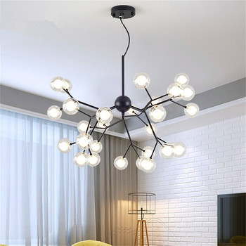 Creative Personality Molecular Lights Nordic Modern Minimalist Living Room Chandelier Restaurant Bar Bedroom Glass Firefly Lamp nordic designer living room led hanging lights modern creative american chandelier glass ball restaurant iron pendant lamp