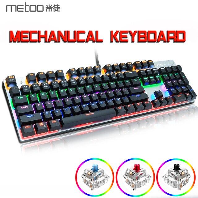 METOO X51 X52 Mechanical Gaming Keyboard LED Backlit 104/87 Keys Anti GhostingBlack Red Blue Switches for DOTA 2 Gamer PC Laptop