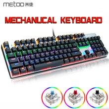 METOO X51 X52 mekanik oyun klavyesi LED aydınlatmalı 104/87 tuşları Anti GhostingBlack kırmızı mavi anahtarları DOTA 2 oyun PC Laptop