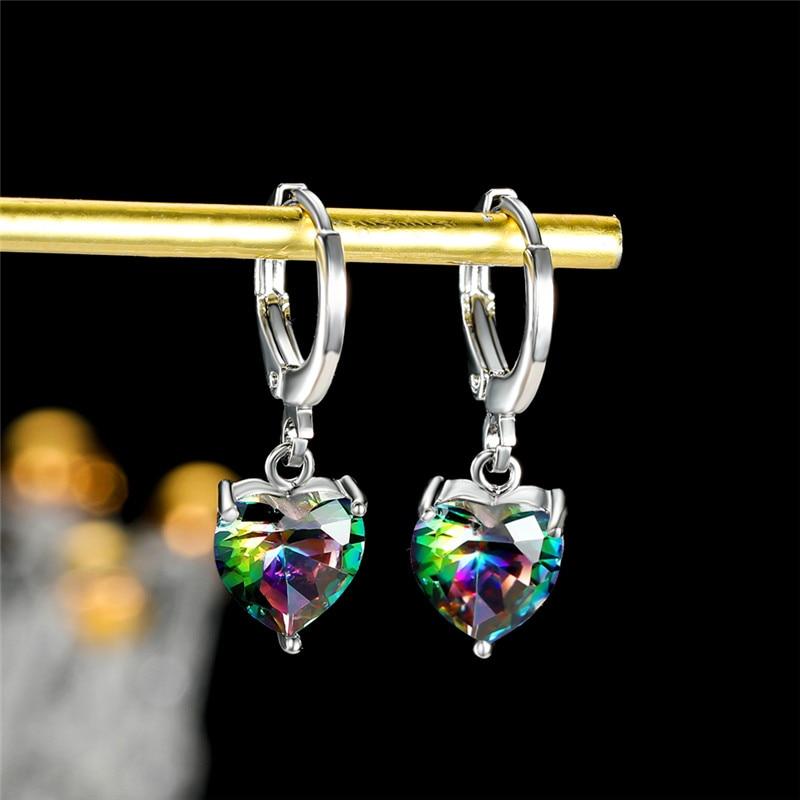 Cute Rainbow Crystal Jewelry Earrings Simple Female Love Heart Hoop Earrings Rose Gold Silver Color Wedding Earrings For Women