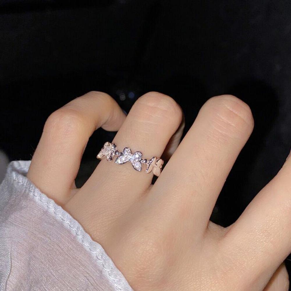 Элегантный кристалл бабочка кольца для женщин в Корейском стиле Простые стразы кольцо в стиле Casual указательный палец кольцо на палец для же...