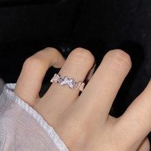 Elegante cristal borboleta anéis feminino coreano simples strass casual anel indicador dedo abertura anel para mulher accessorise
