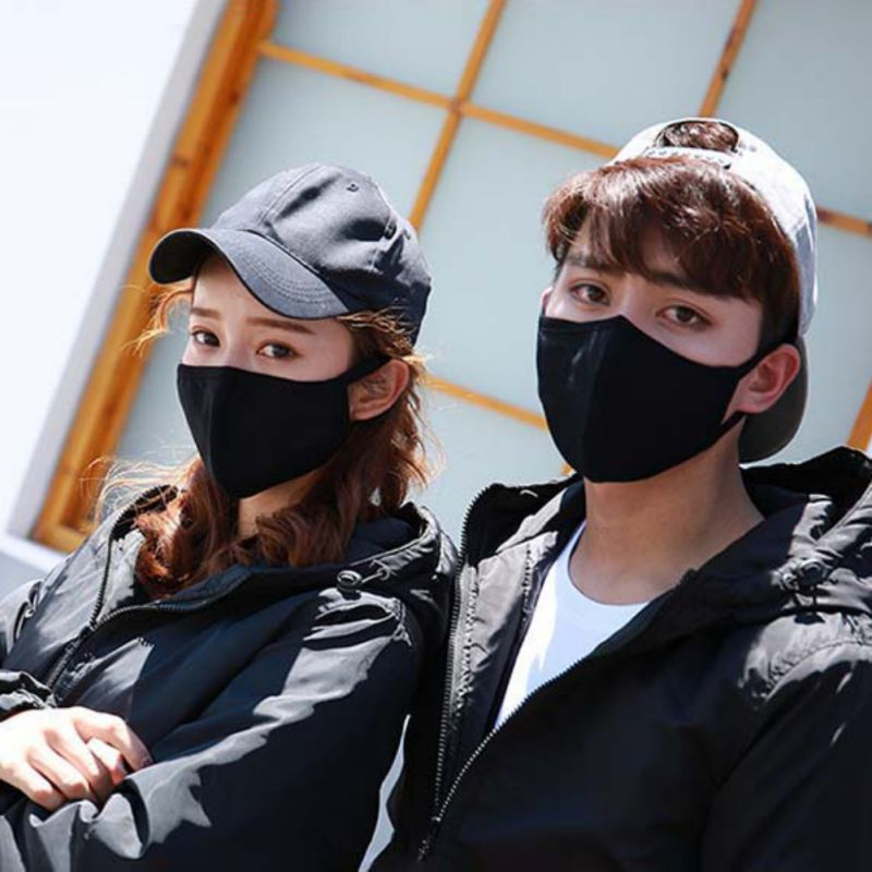 Unisex Cotton  Anti Dust Face Mouth Mask Thick Double-layer Anti-fog And Washable Masks For Outside Sport Mask 2pcs / Bag