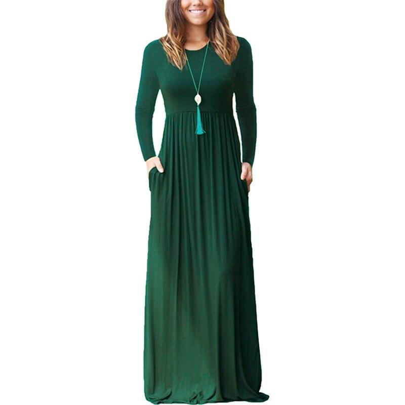 Women Autumn Long Dress Round Neck Long Sleeves Pockets Slim Fit Vintage Dresses SER88