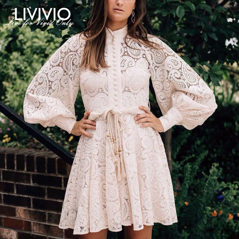 [LIVIVIO] Attached Belt Hollow Out Cashew Lace Mini Dresses Women Lantern Long Sleeve Two Piece Female 2019 Autumn Fashion New