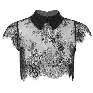 Женская рубашка с отложным воротником MSemis, Прозрачная кружевная рубашка с отстегивающимся воротником и рукавами-крылышками