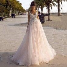 Tulle Princess Wedding Dress V-neck Backless 3D Lace Appliques Boho Bridal Dresses plus Size Wedding Gowns vestido de noiva