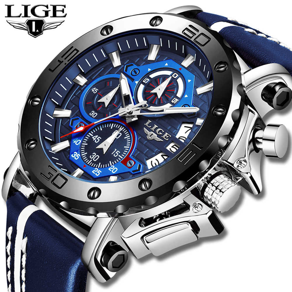 2020 LIGE New Mens Watches 톱 브랜드 럭셔리 빅 다이얼 밀리터리 쿼츠 시계 가죽 방수 스포츠 손목 시계 Relogio Masculino