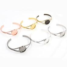 20mm 7 Colors Plated V Shape Bangle Settings Bracelet Cabochon Base Cameo Blank Bezel Tray High Quality Accessories