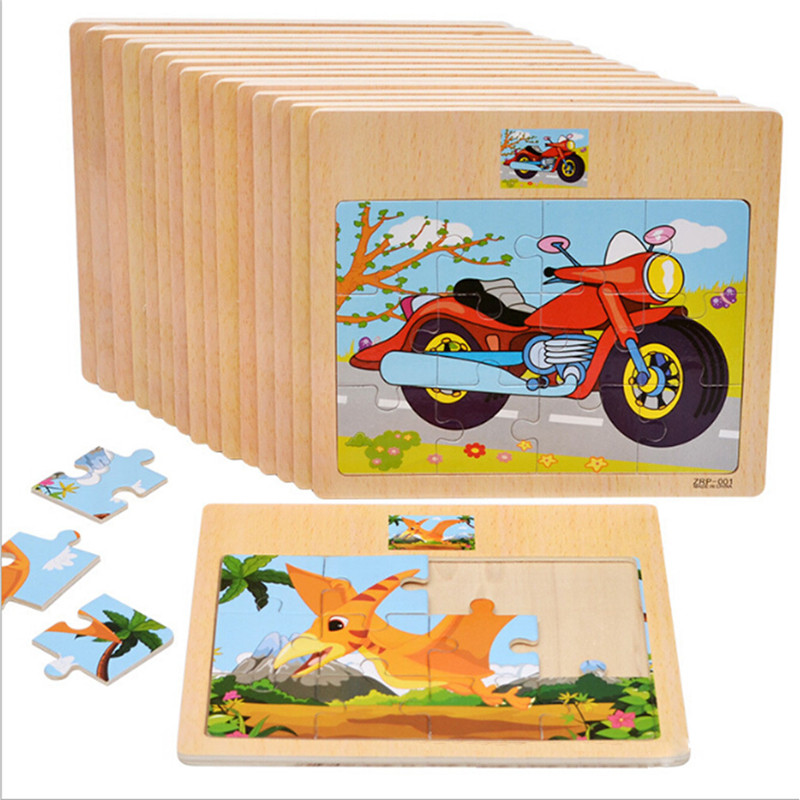 12Pcs Cute Cartoon Jigsaw Puzzle Wooden Toys Animal/Vehicle/Motorcycle Have Reference Photo Kids Educational Learning Gift