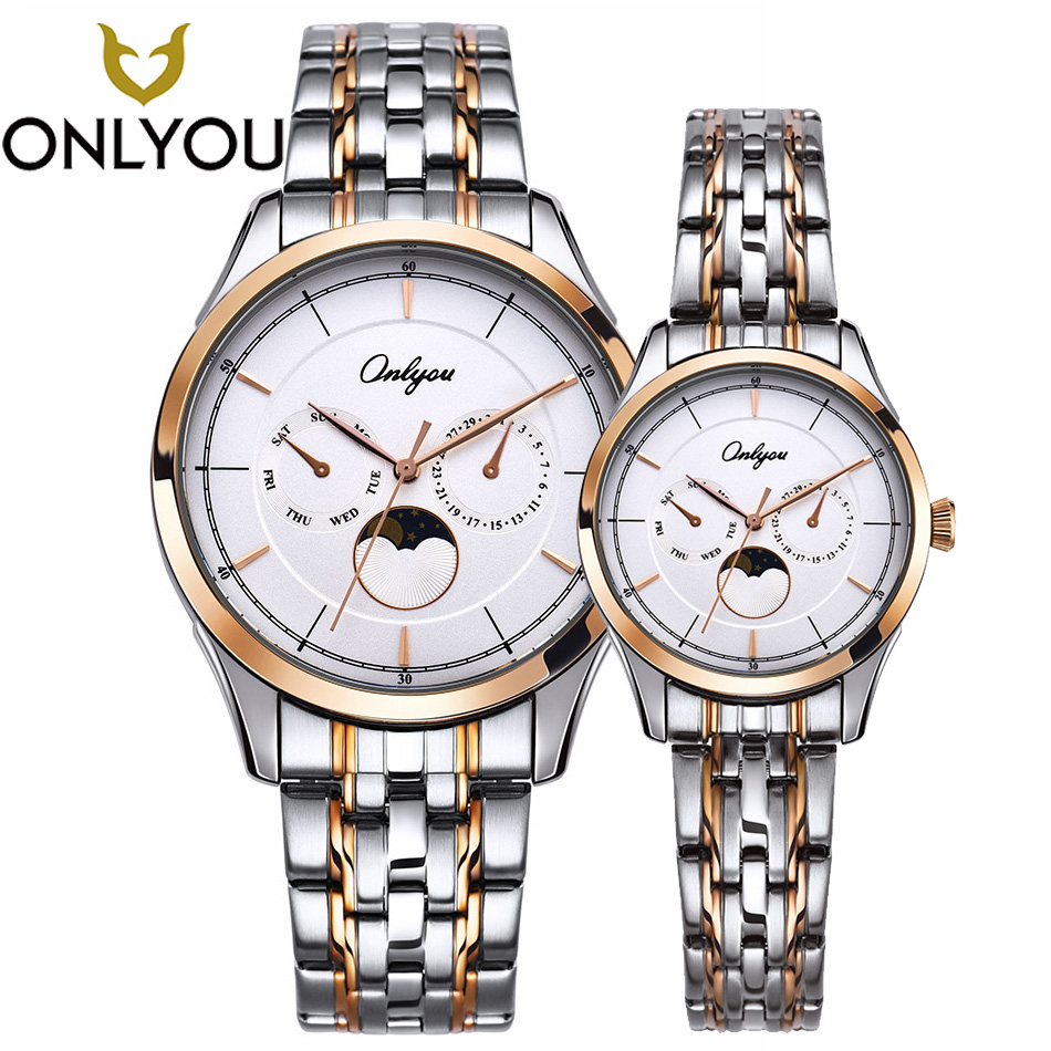 ONLYOU lover Watch Stainless Steel Bracelet Wristwatch Waterproof Quartz Clock Couple Watch 81026