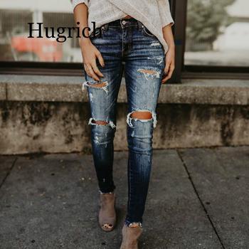 2020 Spring Fashion Bleached Ripped Jeans Women Cotton Denim Slim Elasticity Skinny Pants Moustache Effect Vintage Jeans Femme ripped bleached denim pants
