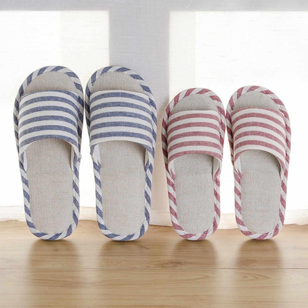 Hot Koop 2019 Zomer Schoenen Mannen Strand Sandalen Flip Flops Gestreepte Linnen Mannelijke Casual Sneakers Voor Thuis Indoor Slippers chaussures