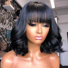 Wavy Wig Human-Hair Lace-Front Magic-Love Bangs Short Brazilian with Natural Preplucked