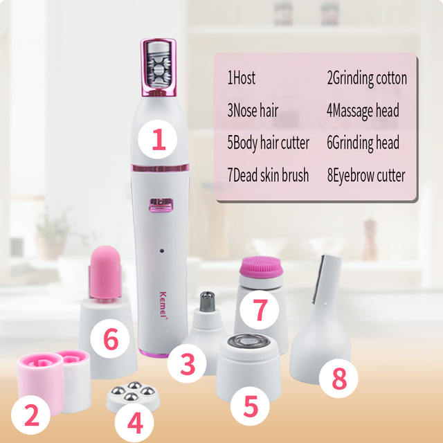 Kemei 7 In 1 Nose Hair Beard Eyebrow Rechargeable Women Electric Trimmer Hair Remover Device Lady Epilator Skin Care Tool 2